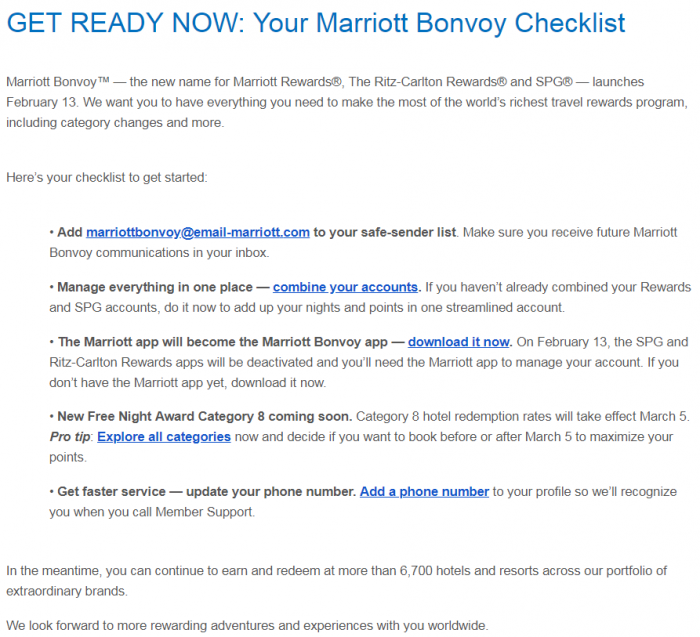 Your Marriott Bonvoy Checklist Is Here Email Body