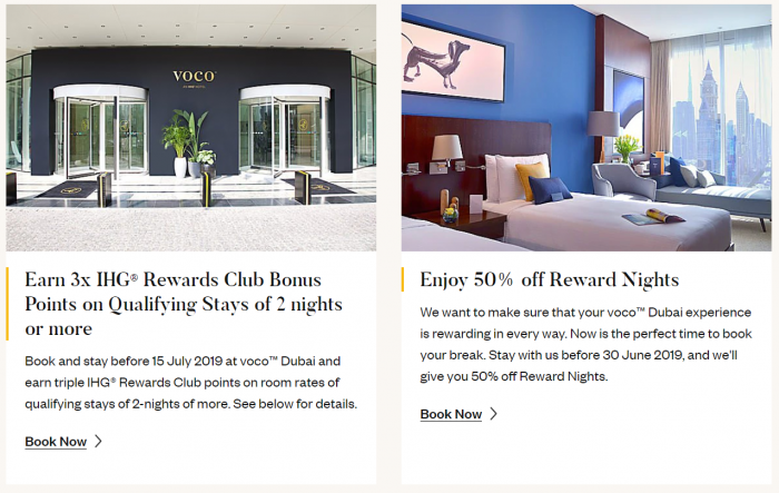 IHG Rewards Club Voco Dubai Opening Offers