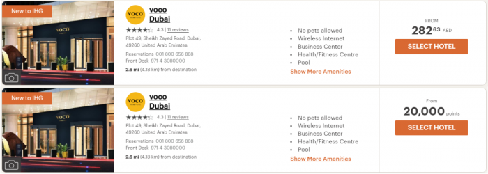 IHG Rewards Club Voco Dubai Price