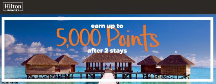Hilton Honors 5,000 Bonus Points 2019