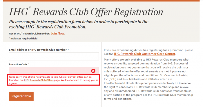 IHG Rewards Club 2,000 Bonus Points Error Message