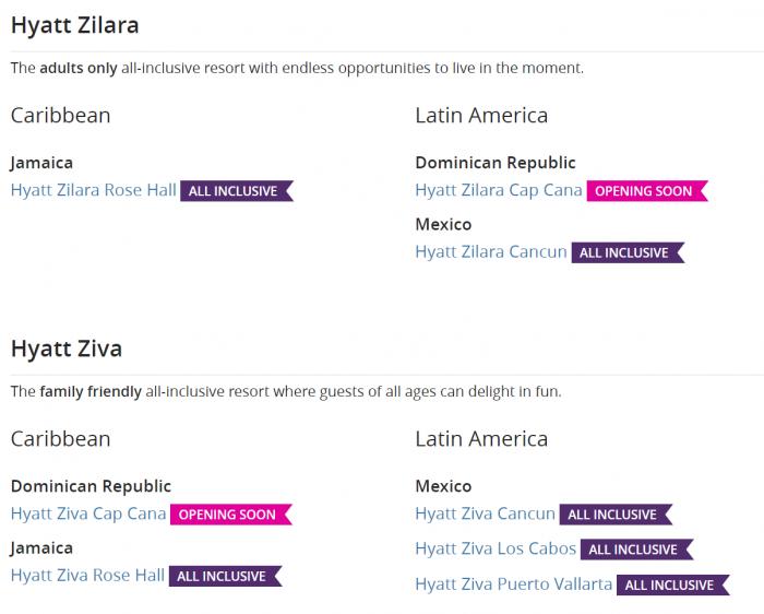 World of Hyatt Ziva & Zilara Locations