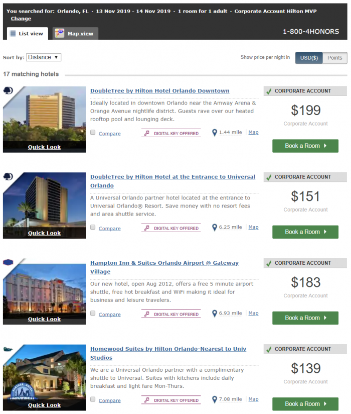 Hilton Honors MVP Rate Search Orlando