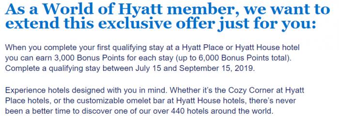 World of Hyatt Targeted Hyatt House & Place Offer Summer 2019 Text