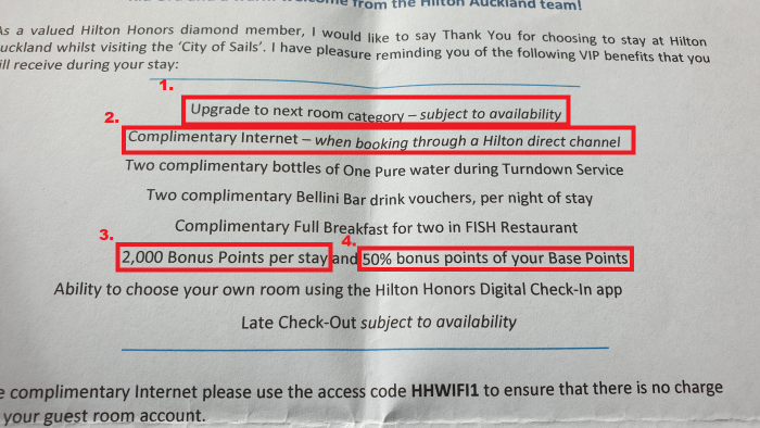 Hilton Auckland Welcome Letter Benefits U