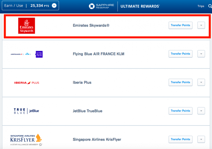 Chase Ultimate Rewards Adds Emirates Skywards As Transfer