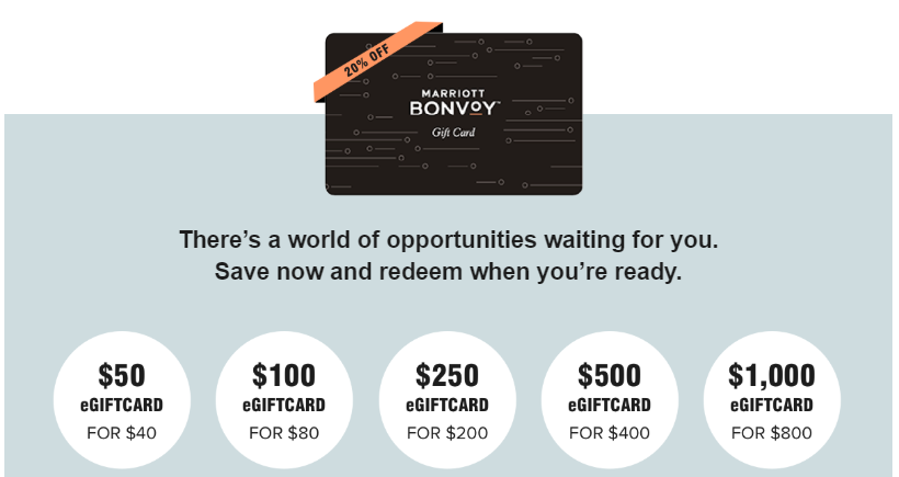 marriott gift cards at 20 off may 11  17 2020